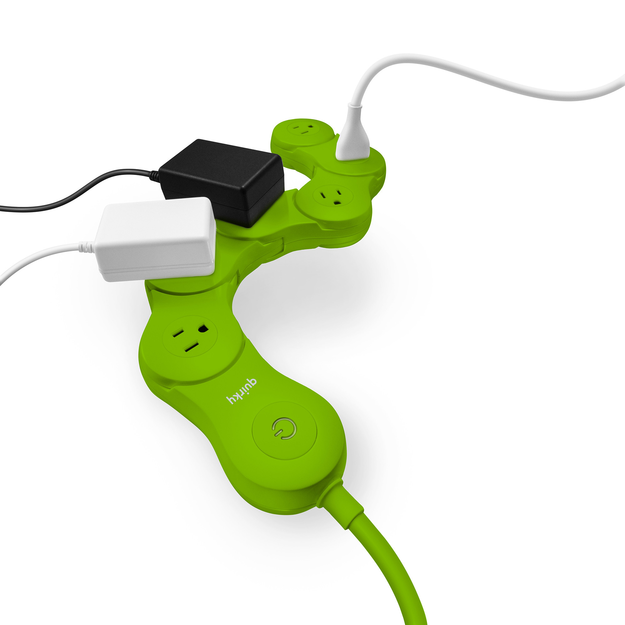 Quirky Pivot Power - Flexible 6 outlet surge protector - LIME GREEN