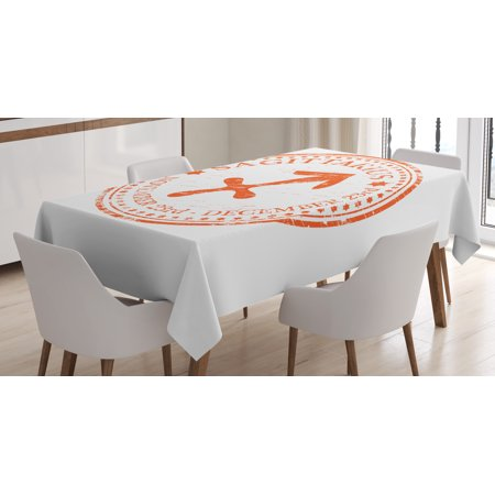 Zodiac Sagittarius Tablecloth, Grunge Sagittarius Logo with Stars Pattern Constellation Theme, Rectangular Table Cover for Dining Room Kitchen, 60 X 84 Inches, Orange and White, by Ambesonne (Table Covers With Logo)