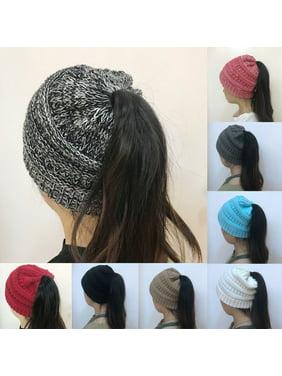 Women Beanietail Messy High Bun Ponytail Stretchy Knit Beanie Skull Hats Hat US