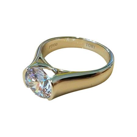 - ON SALE - Veronique 2CT Round Semi-Bezel Set IOBI Simulated Diamond Solitaire Ring 10.5