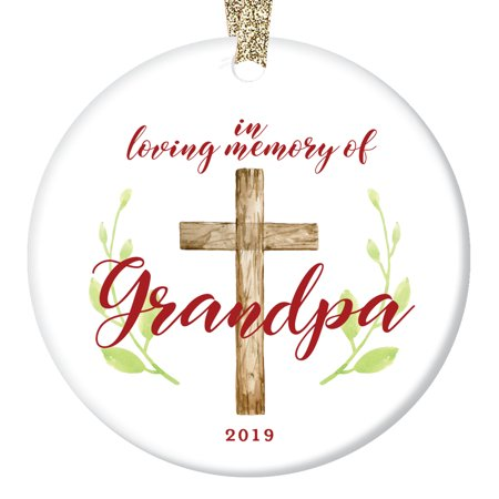 Loving Memory Grandpa Tree Ornament 2019 Christmas Present Remember Honor Grandfather Grandpop Pop-Pop Ceramic Collectible Memento 3