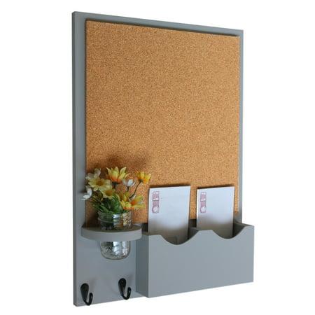 Double Slot Mail Organizer With Cork Board Key Hooks Mason Jar
