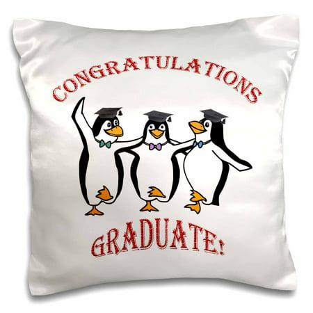 3dRose Graduation happy penguins dancing - Pillow Case, 16 by 16-inch (Penguin Pillow)