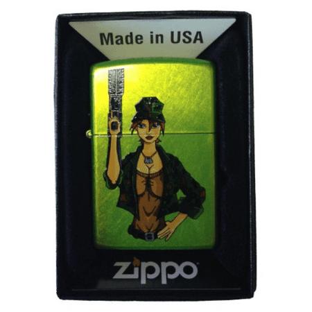 Zippo Custom Lighter - Military Big Guns & Boobs Sexy Babe Lurid Green Matte