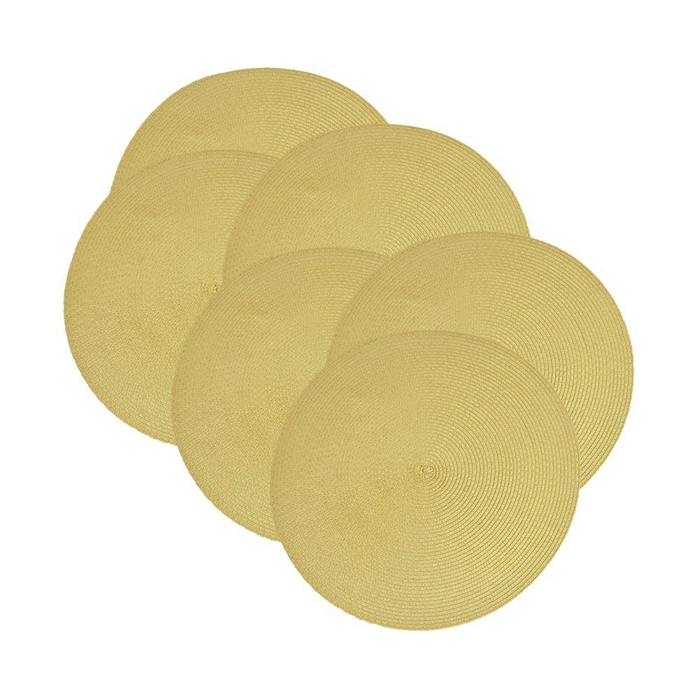Guava Placemat- Round Braided Placemat Set of 6 by Design Imports