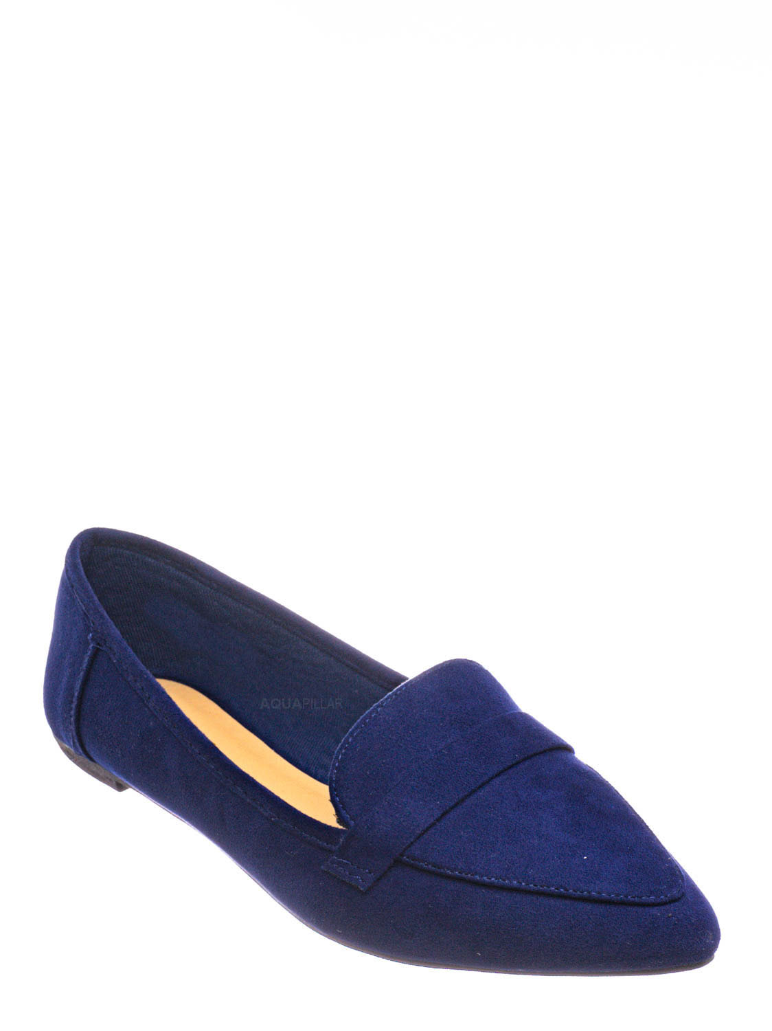 run small 19463 Women Faux Suede Pointy Toe Bow Slip On Flat Loafer