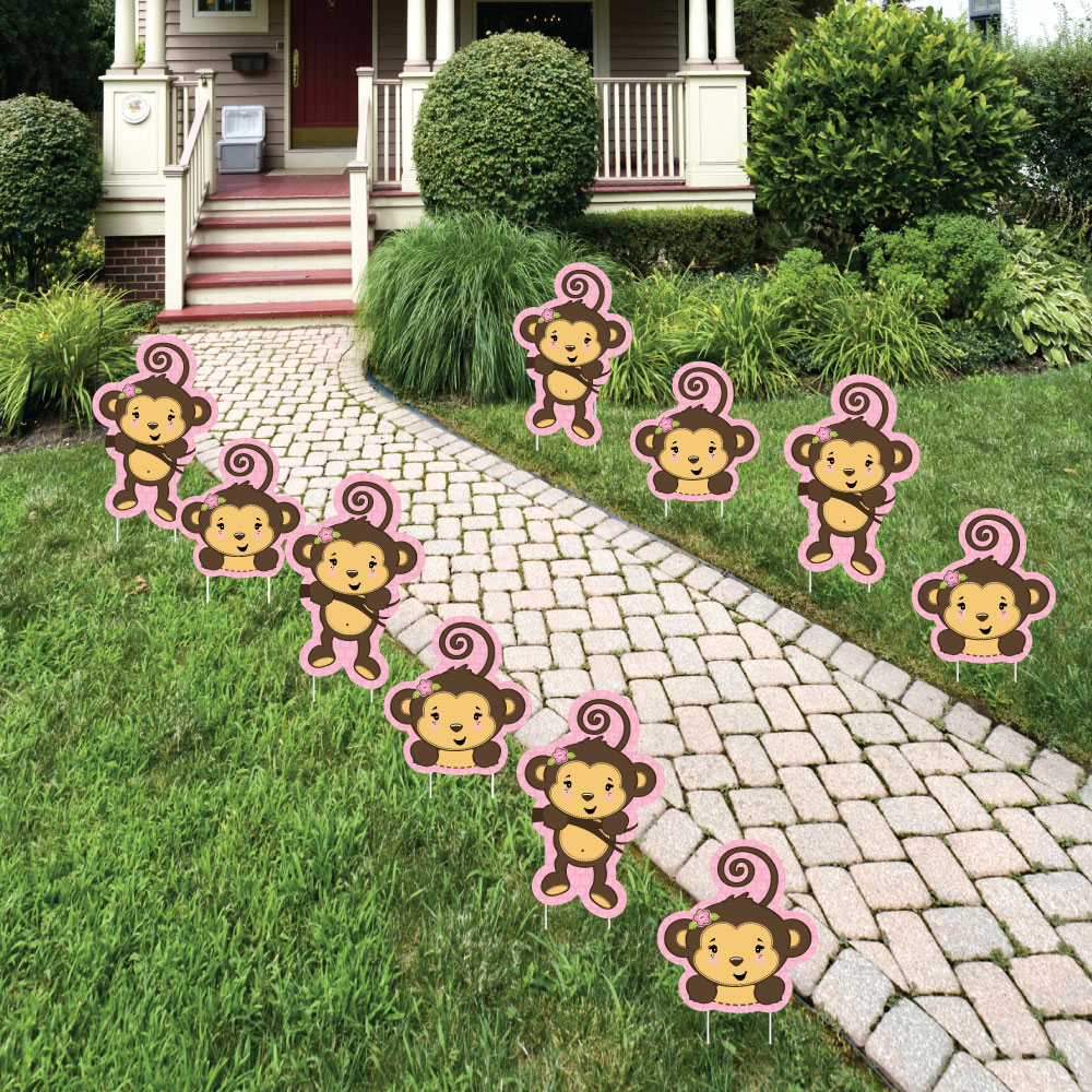 Monkey Girl - Lawn Decorations - Outdoor Baby Shower or Birthday Party Yard Decorations - 10 Piece