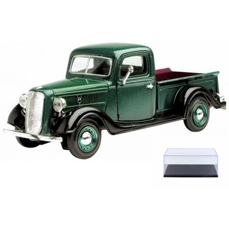 Diecast Car & Display Case Package - 1937 Ford Pick-up Truck, Green - Showcasts 73233 - 1/24 Scale Diecast Model Toy Car w/Display Case 64 Scale Diecast Truck Car