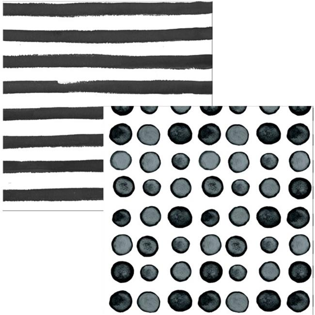 Hoffmaster Group 668510 Elise Licorice Dots & Stripes 3 Ply Luncheon Napkins - 16 per Case - Case of 12 - image 1 of 1