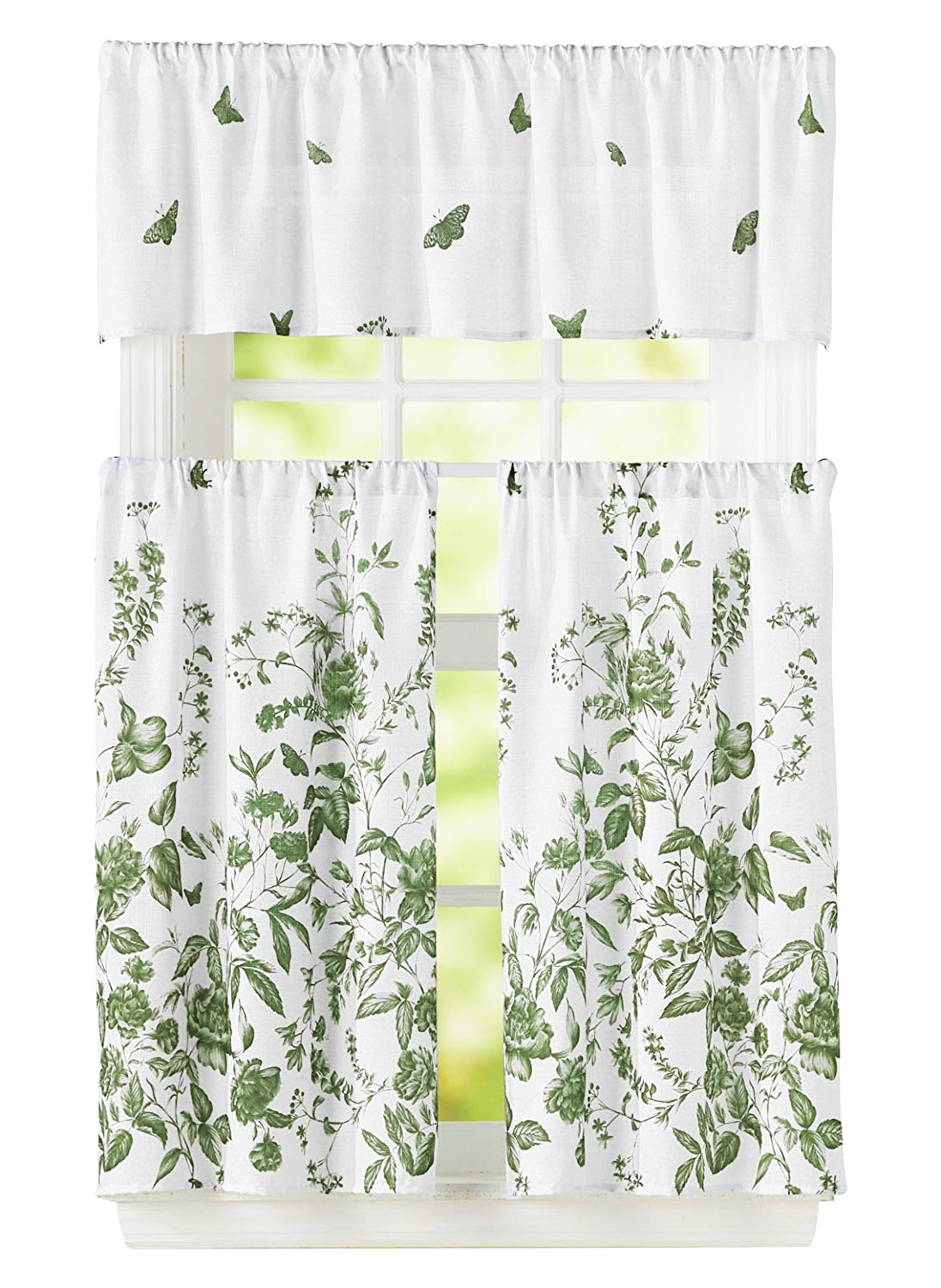 Bathroom And More 3 Piece Window Curtain Set Floral Design One Valance Two Tiers Sage Green 24 Tier Sage Green And White Walmart Com Walmart Com