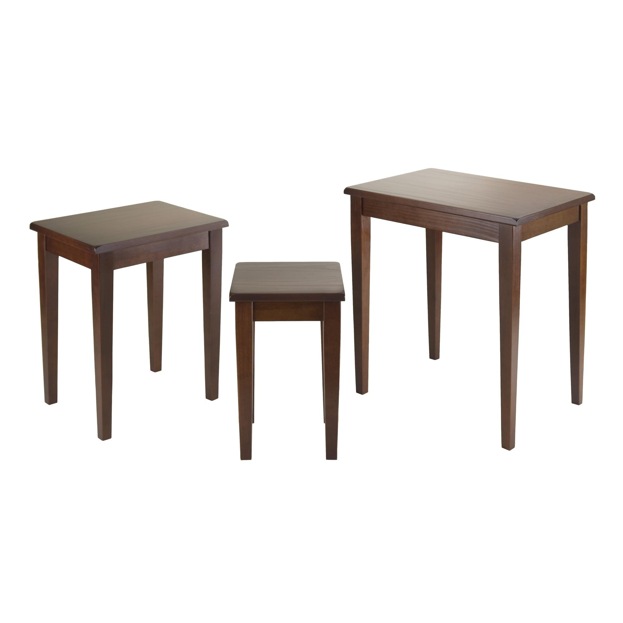 Winsome Wood Regalia 3 Piece Nesting Table Set Walnut Finish Walmart Com Walmart Com