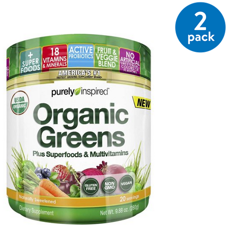 (2 Pack) Purely Inspired Organic Greens Superfood Powder, 9.9 (Green Edge Powder)