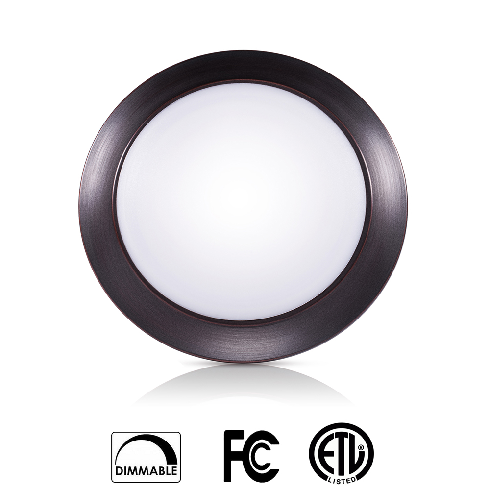 SOLLA 7.5 Inch LED Disk Light Flush Mount Ceiling Fixture with ETL FCC Listed, 950LM, 15W (90W Equiv.), Warm White, 3000K, Bronze Finish, Ultra-Thin, Round LED Light for Home, Hotel, Office