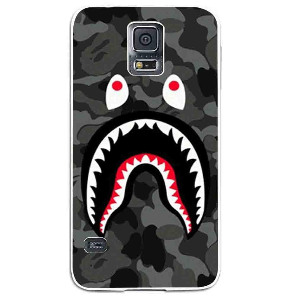 Ganma bape shark black army pattern Case For Samsung Galaxy Case (Case For Samsung Galaxy S4 White)
