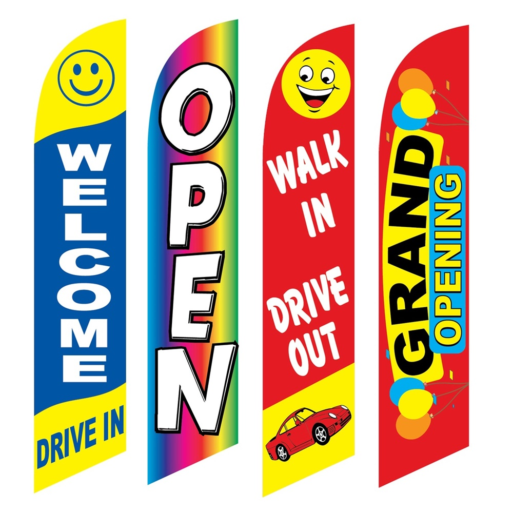 4 Advertising Swooper Flags Welcome Drive In Open Walk In Drive Out Grand Opening