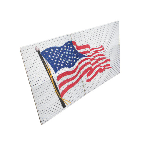 Alligator Board Powder Coated Metal Pegboard Panels/ Flange and USA Flag in White