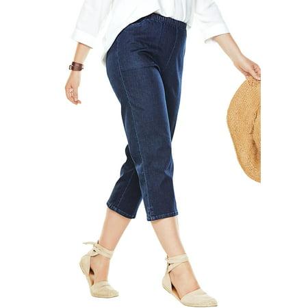 7897bf14529 Woman Within - Plus Size Capri Fineline Jean - Walmart.com