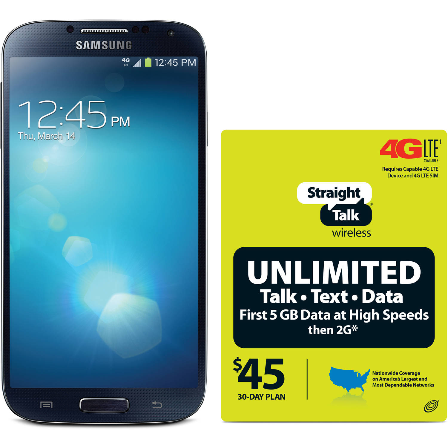 Straight Talk Samsung Galaxy S4 4G LTE Android Refurbished Prepaid Smartphone w/ Bonus $45 30-Day Plan