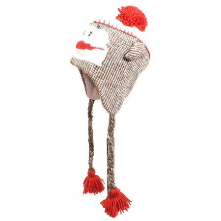 - Best Winter Hats Adult/Teen Knit Sock Monkey Animal Earflap Cap W/Pom Pom