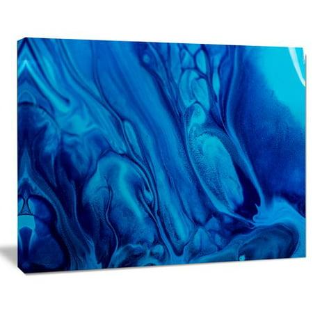 Design Art Dark Blue Abstract Acrylic Paint Mix Abstract Glossy Metal Wall Art