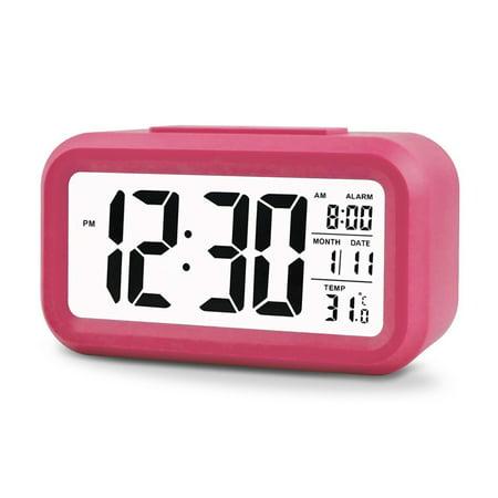 - EEEKit Digital Sensor Automatic Soft Light Snooze Desk Alarm Clock Date Temperature(Hot Pink)