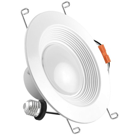 Luxrite 5/6 Inch Retrofit LED Recessed Lighting Fixture, 15W (120W Equivalent), 2700K Warm White, ENERGY STAR, 1000 Lumens, Baffle Trim, Dimmable, LED Downlight, UL Listed, Damp Rated, 1-Piece