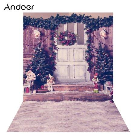 - Andoer 1.5 * 2m Photography Background Backdrop Digital Printing Christmas Door Tree Snow Pattern for Photo Studio