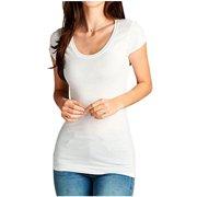 FDPlus Woman's Short Sleeve Plus Size Round Scoop Neck T-Shirt