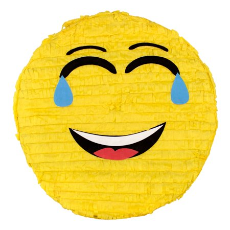 (2 Pack) Laughing Emoji Party Pinata, Traditionally Handcrafted - Emoji Themed Party