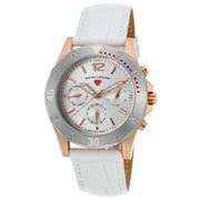 16016Sm-Rg-02-Sb-Wht Paradiso Diamonds White Genuine Leather Silver-Tone Dial Rose-Tone Ss Watch