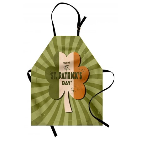 St. Patrick's Day Apron Celebration Clover Retro Grunge Design with Sun Beam Stripes Festive Art, Unisex Kitchen Bib Apron with Adjustable Neck for Cooking Baking Gardening, Olive Green, by Ambesonne