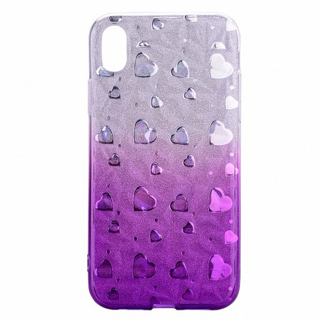 Case for iPhone Xr, Allytech Gradual Colorful Clear Design Heart Printed Transparent Soft TPU Back Case with TPU Bumper Protective Case Cover for iPhone Xr 6.1-inch, Purple