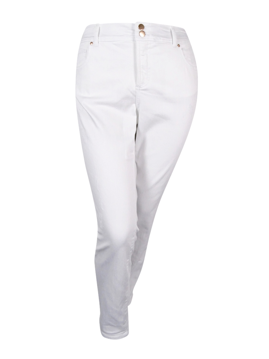 INC International Concepts Women's Plus Size Boyfriend Jeans (16W, White Denim)