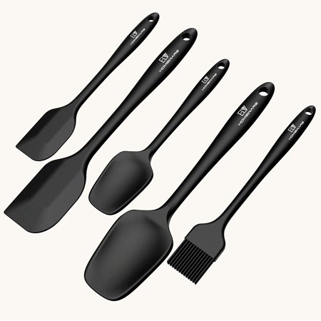 - Silicone Spatula Set, ELV 5-piece Heat Resistant, Non-Stick Silicone Kitchen Utensils Set with Different Shapes Mixing Spatula For Icing, Basting, Scraping, Cooking (BLACK)