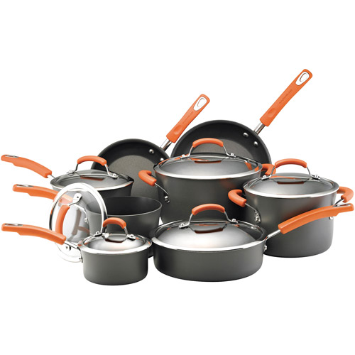 Rachael Ray Dishwasher Safe Hard Anodized 14-Piece Cookware Set, Gray with Orange Handles