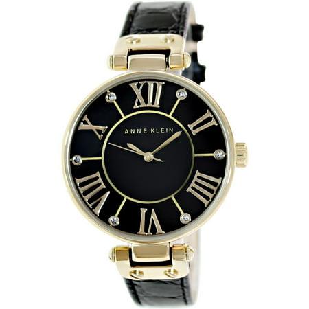 Anne Klein Tie - Anne Klein Women's AK-1396BMBK Black Leather Analog Quartz Fashion Watch