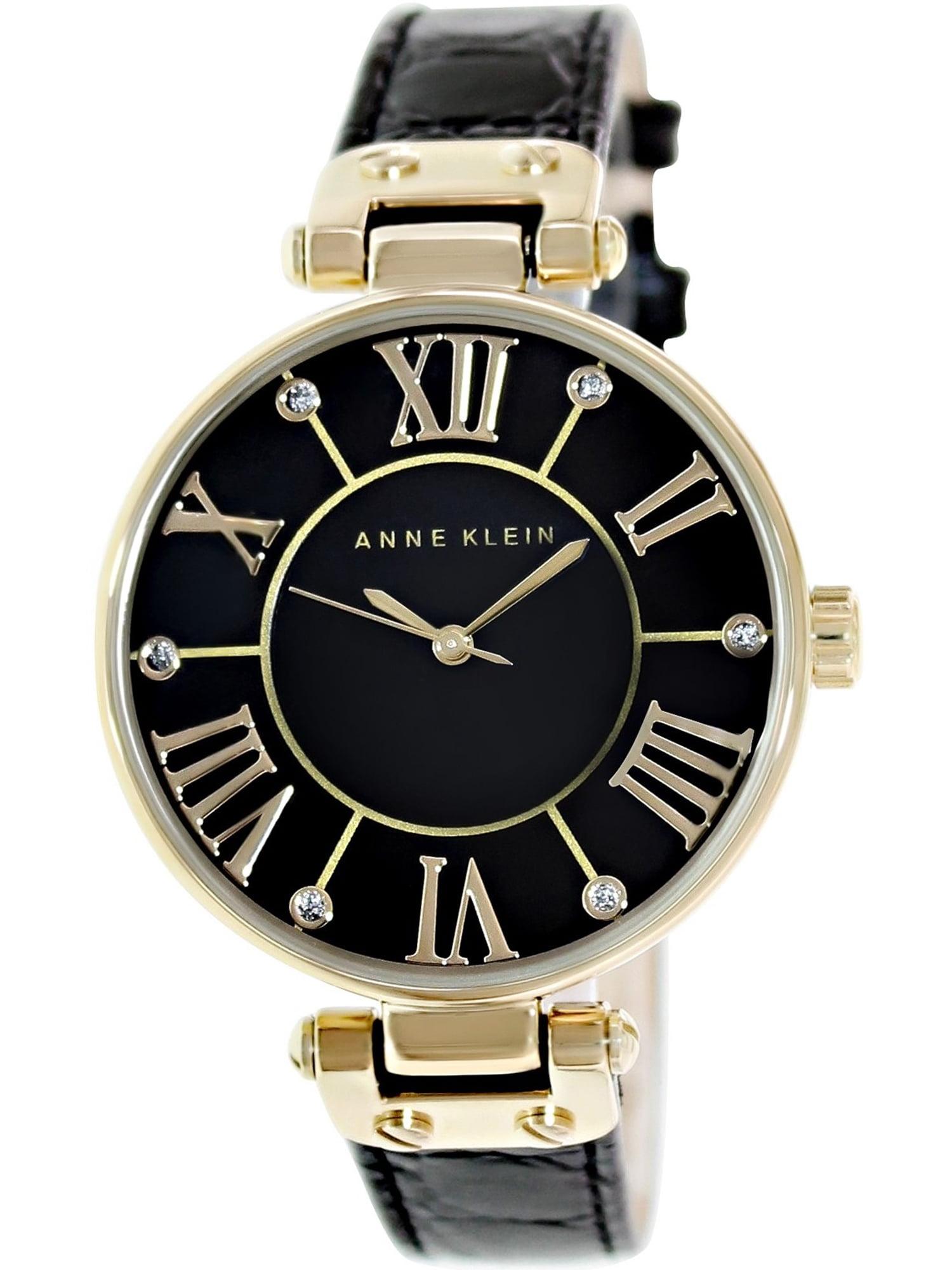 Women's AK-1396BMBK Black Leather Analog Quartz Fashion Watch