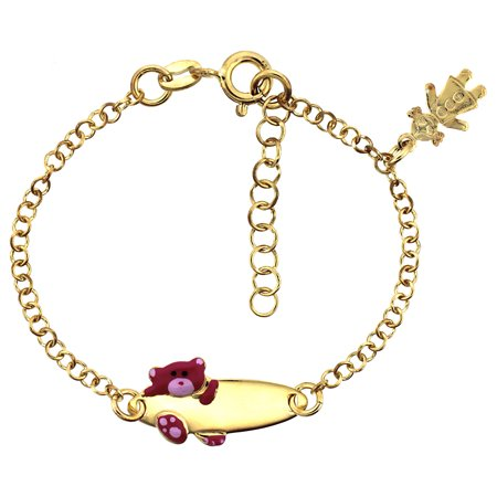Sterling Silver Rolo Link Baby Id Bracelet In Yellow Gold Finish W Pink Teddy Bear