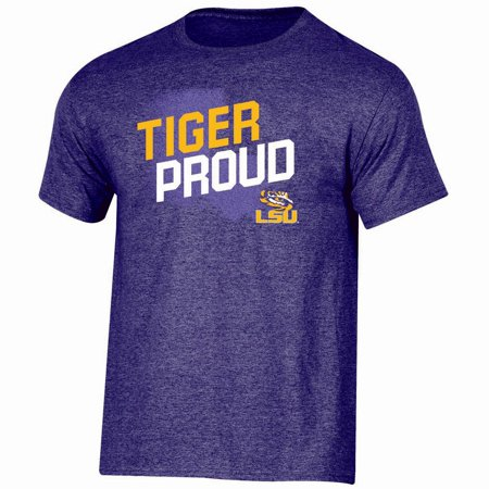 Men's Russell Purple LSU Tigers Slant T-Shirt (Lsu Tigers Polyester)