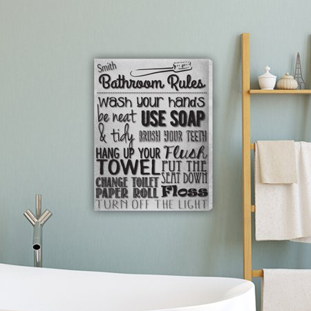 Bathroom Rules Personalized Canvas Print White Personalized Print