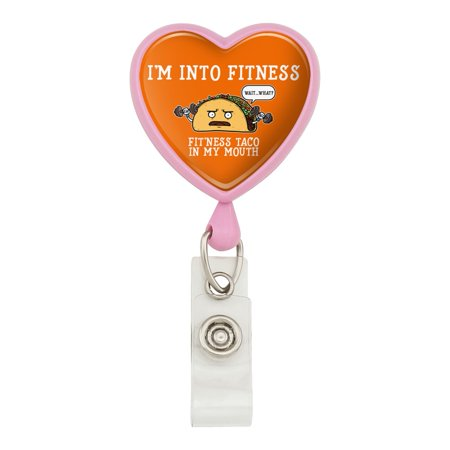 I'm Into Fitness Fit'ness Taco In My Mouth Funny Heart Lanyard Retractable Reel Badge ID Card Holder - - Pink Lanyard Id Card Holder