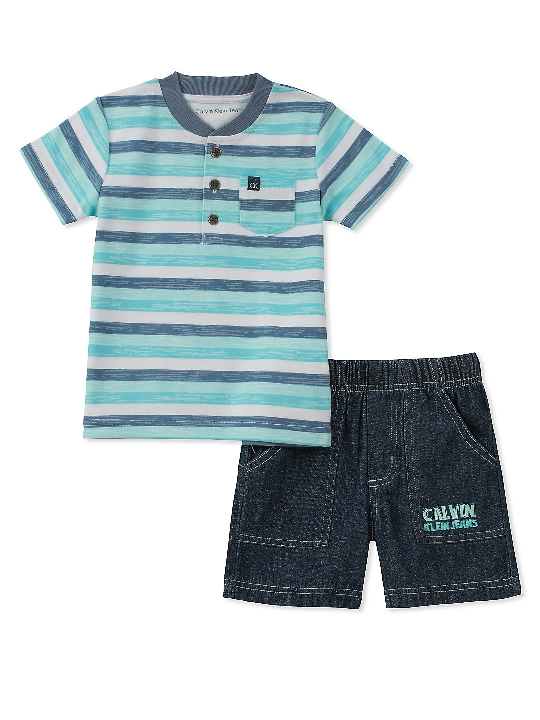 Baby Boys' Two-Piece Striped Tee and Denim Shorts Set