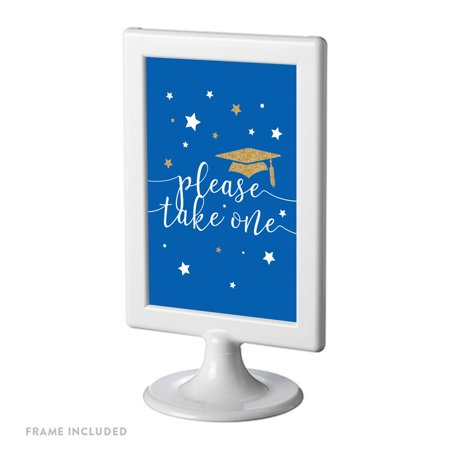 Royal Blue and Gold Glittering Graduation Party Sign, Double-Sided 4x6-inch, Please Take One, Includes Reusable - Royal Blue Ones