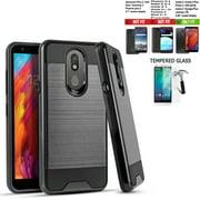 Phone Case For Walmart Family Mobile LG Journey / Tracfone LG Journey LTE Case,  Straight Talk Journey Case (L322DL) Shock absorbing Brush Cover (Slim Black +Tempered Glass)