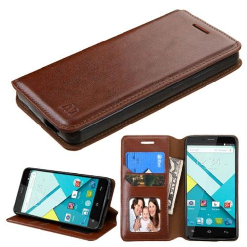Insten Flip Leather Wallet Fabric Cover Case w/stand/card holder/Photo Display For BLU Studio Energy - Brown