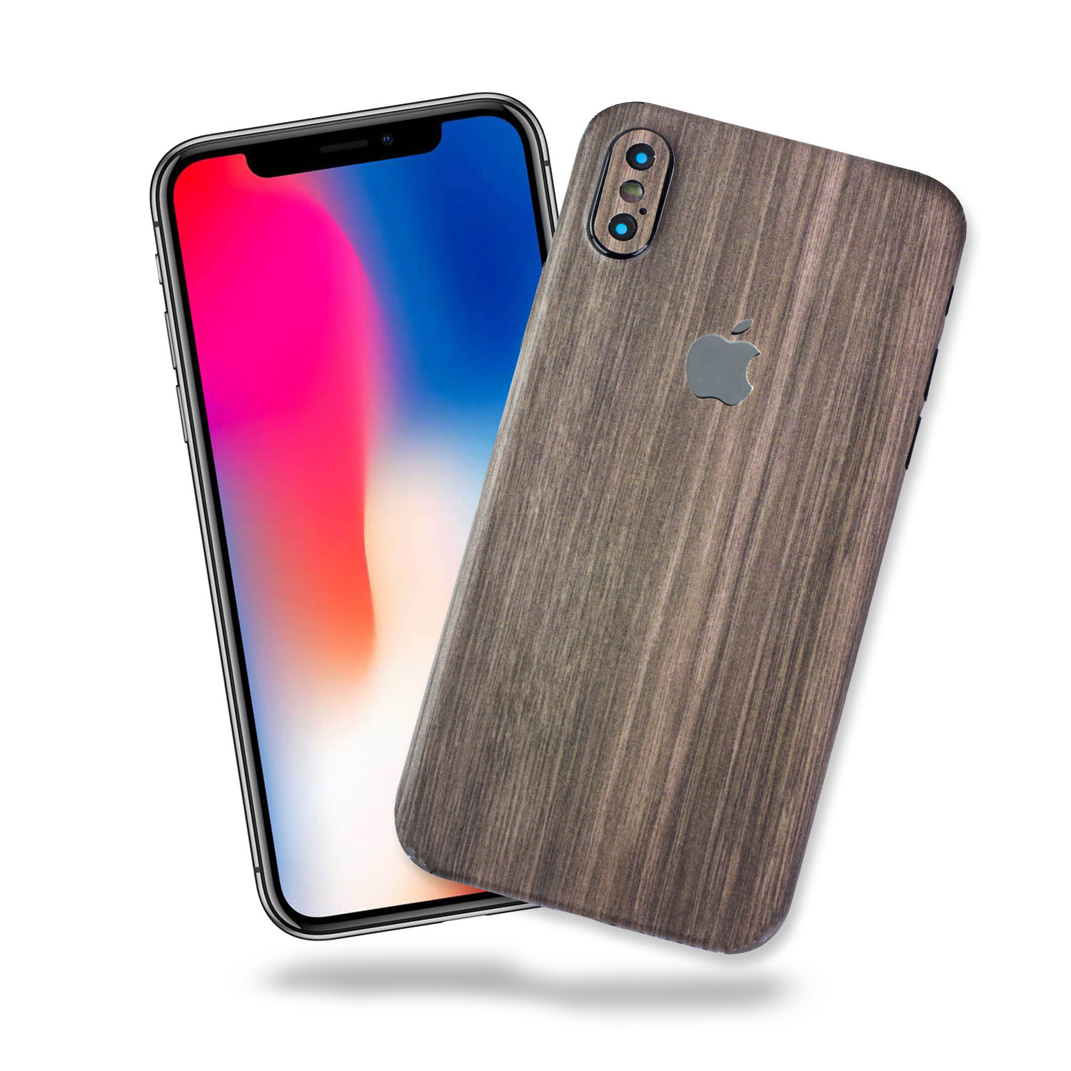 Apple iPhone X Vinyl Skin Decal, Anti-Scratch Skin Cover for Apple iPhone X Brown Wood Texture (1-Back & 4-Camera) by SkylerShield