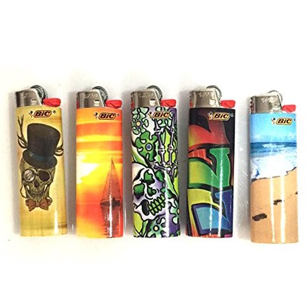 Five Pocket Design (BIC Assorted Designs Lighters, Brand New, Available in Multiple Quantities (5))