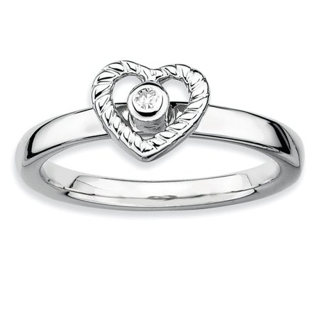 Hearts Stackable (925 Sterling Silver Rhodium-Plated Heart Bezel Diamond Stackable Ring Size)