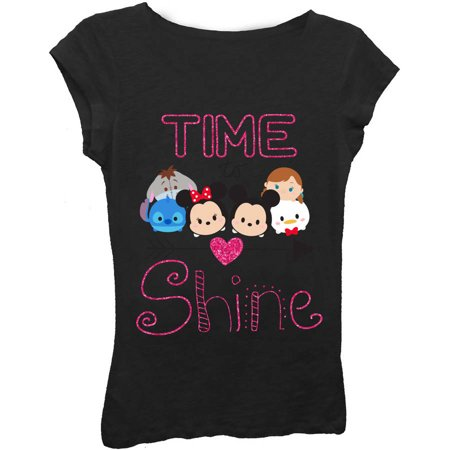 Girls' 'Time to Shine' Short Puff Sleeve Graphic T-Shirt With Magenta