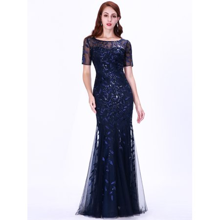 Ever-Pretty Womens Plus Size Long Bridesmaid Party Mother of the Groom  Dresses for Women 07707 Navy Blue US22